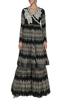Black Zari Embroidered Sharara Set by Bhumika Sharma