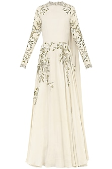 Ivory Embroidered Gown by Bhumika Sharma