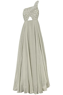 Grey Embroidered One Shoulder Gown by Bhumika Sharma