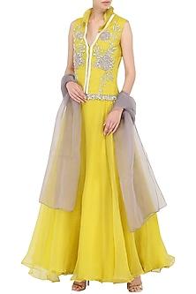 Yellow Lehenga and Embroidered Jacket Set by Bhumika Sharma