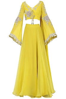Yellow Embroidered Lehenga Set by Bhumika Sharma
