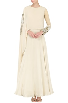 Ivory Embroidered Cape Anarkali Gown by Bhumika Sharma