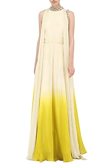 Ivory To Yellow Ombre Embroidered Anarkali Gown by Bhumika Sharma