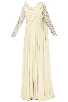Ivory Embroidered Pleated Saree with Bodysuit by Bhumika Sharma