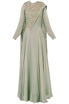 Grey Embroidered Anarkali Gown by Bhumika Sharma