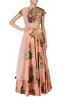 Pink Foil Print, Sequins and Threadwork Lehenga Set by Bhumika Sharma