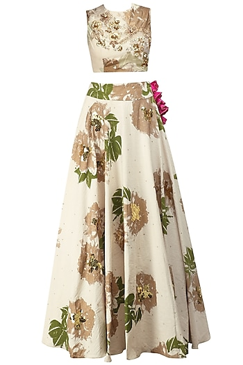 Ivory Foil Print and Floral Embroidered Lehenga Set by Bhumika Sharma