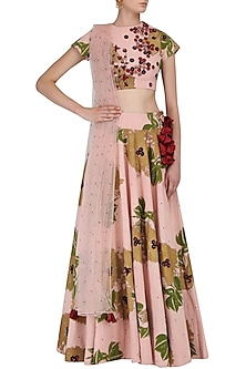 Pink Foil Print and Floral Embroidered Lehenga Set by Bhumika Sharma