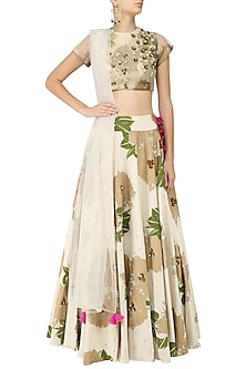 Ivory Foil Print and Floral Sequinned Lehenga Set by Bhumika Sharma