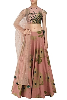 Peach and Green Floral Bunch Embroidered Lehenga Set by Bhumika Sharma