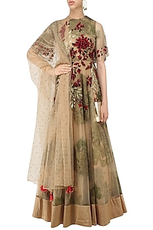 Beige Foil Print and Floral Embroidered Flared Anarkali by Bhumika Sharma