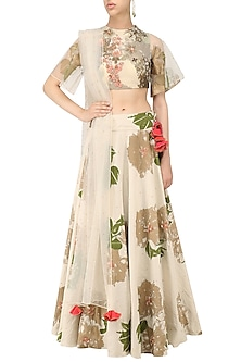 Ivory and Peach Floral Embroidered Lehenga Set by Bhumika Sharma