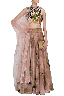 Pink and Green Floral Bunch Embroidered Lehenga Set by Bhumika Sharma