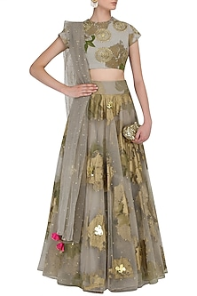 Grey Foil Print and Floral Embroidered Lehenga Set by Bhumika Sharma