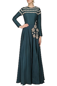 Teal Green Roses Embroidered Anarkali with Printed Dupatta by Bhumika Sharma