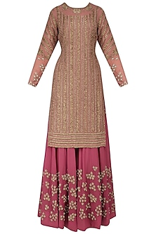 Pink Dabka Embroidered Kurta and Sharara Pants Set by Bhumika Sharma