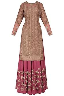 Pink Dabka Embroidered Kurta and Sharara Pants Set by Bhumika Sharma