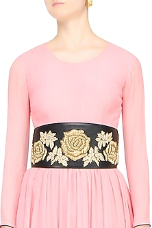 Black Rosette Motif Embroidered Leather Belt by Bhumika Sharma