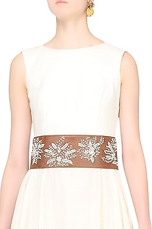 Tan Ornate Floral Embroidered Leather Belt by Bhumika Sharma