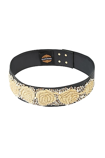 Black Rosette Dori Embroidered Thin Leather Belt by Bhumika Sharma