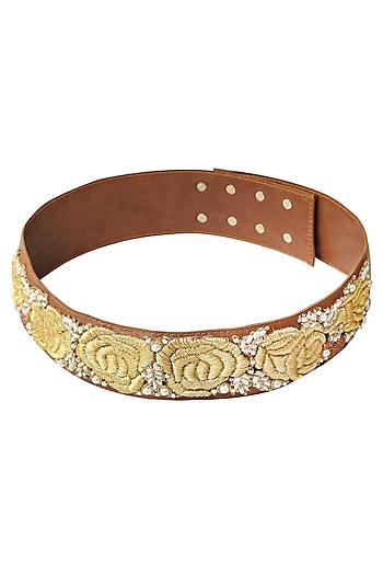 Tan Rosette Dori Embroidered Thin Leather Belt by Bhumika Sharma