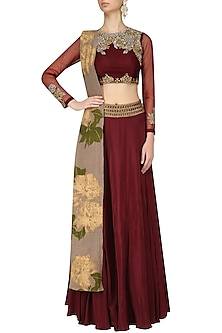 Wine Rosette Embroidered Lehenga Set with Grey Printed Dupatta by Bhumika Sharma