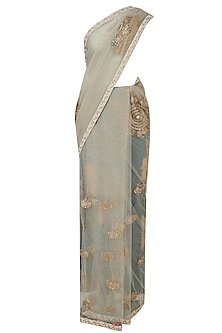 Soft Blue Boota Embroidered Sari with Embroidered Blouse by Bhumika Sharma