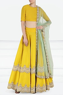 Yellow Scallop Embroidered Lehenga Set by Bhumika Sharma