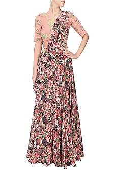 Red and pink rose printed lehnga saree with pale pink rose embroidered blouse by Bhumika Sharma
