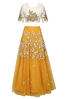 Mustard Yellow Pearl Embroidered Lehenga With Gota Thread Work Blouse Set by Bhumika Sharma