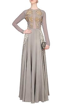 Grey Rosette Motifs Dabka And Pearl Embroidered Evening Gown by Bhumika Sharma