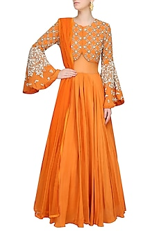 Coral Checkered Pattern Embroidered Flared Sleeves Gown by Bhumika Sharma