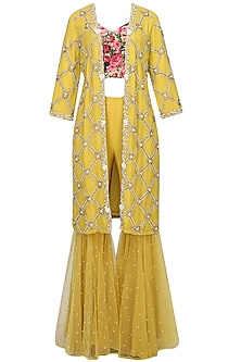 Mustard Yellow Pearl Embroidered Jacket With Black Rose Printed Blouse And Sequinned Gharara Pants by Bhumika Sharma