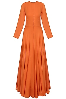 Orange Front Open Dress With Black Rosette Motifs Embroidered Leather Belt by Bhumika Sharma