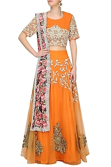 Orange Pearl And Gota Thread Work Lehenga With Matching Floral Pattern Embroidered Blouse Set by Bhumika Sharma