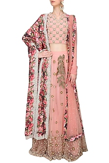 Pink Leaves Pattern Dabka And Katdana Embroidered Lehenga With Matching Embellished Blouse Set by Bhumika Sharma