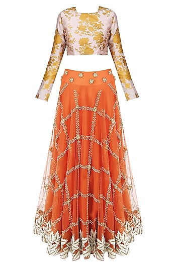 Burnt Orange Checkered Pattern Embroidered Lehenga With Floral Printed Blouse Set  by Bhumika Sharma