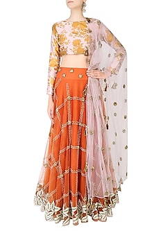 Burnt Orange Checkered Pattern Embroidered Lehenga With Floral Printed Blouse Set