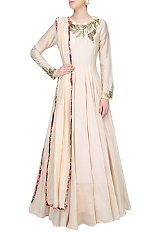 Ivory Leaves Motifs Katdana Embroidered Anarkali Set by Bhumika Sharma