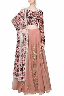 Pink Dori And Gota Thread Work Lehenga Skirt With Black Rose Printed Blouse Set by Bhumika Sharma