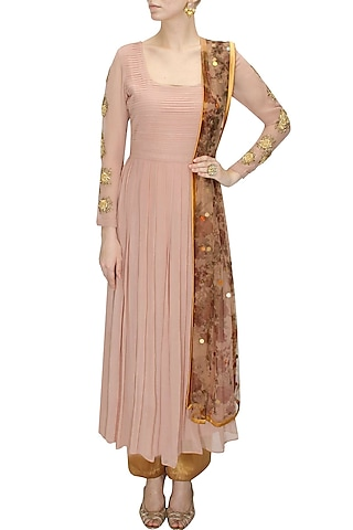 Powder pink embroidered pleated anarkali set with printed dupatta by Bhumika sharma
