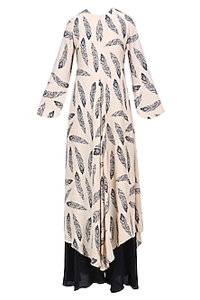 Beige and Black Feather Printed Kurta with Palazzo Set by Bhumika Sharma