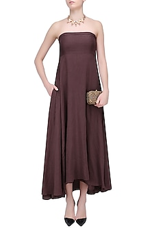 Wine Linen Tube Dress by Bhumika Sharma