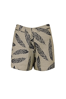Feather Print Shorts by Bhumika Sharma