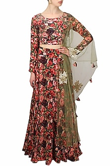 Black roses printed flared lehenga set by Bhumika Sharma