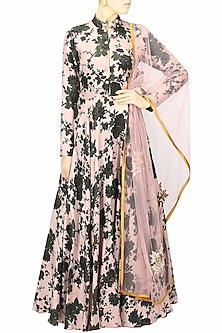 Pink and green floral printed flared anarkali set by Bhumika Sharma