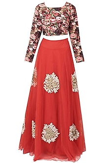 Red embroidered rose motifs flared lehenga and multicoloured blouse set by Bhumika Sharma