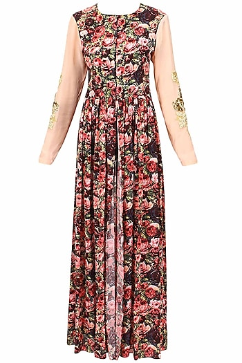 Black rose printed front open cape by Bhumika Sharma
