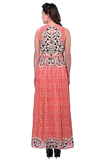 Peach Floral Printed Maxi Dress by Bhanuni by Jyoti