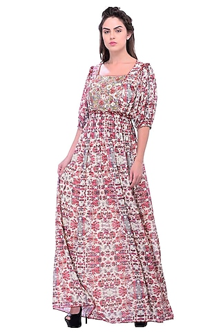 Red Printed & Embroidered Dress by Bhanuni by Jyoti